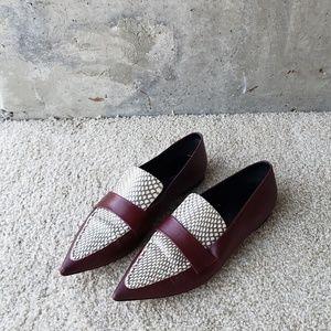 Celine Snakeskin Loafers (Burgundy, Size 39)